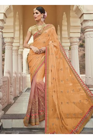 Orange and Peach  Party-wear Half-Half Designer Saree
