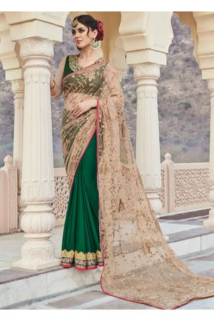 Green and Beige Party-wear Half-Half Designer Saree