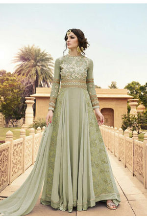 Semi Stitched Light Green  Georgette Embroidered Indowestern Anarkali