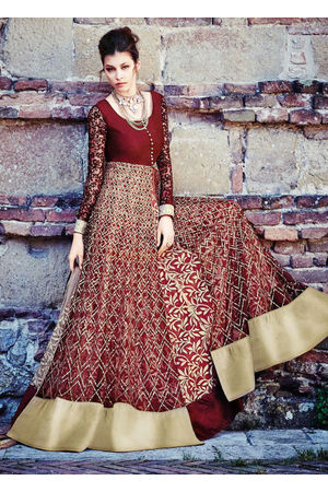 Maroon Colour Long Net Gown Style Anarkali Dress