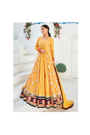 Long Yellow Party wear Anarkali Dress Suit