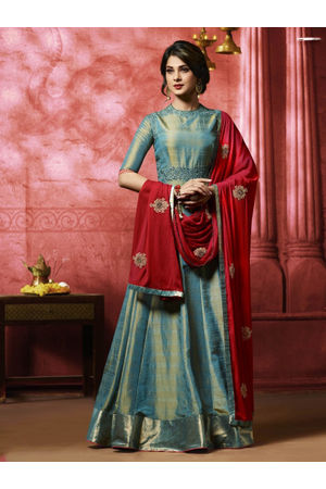 Jeniffer Winget in Teal Blue Long Anarkali Suit