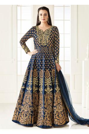 Diya Mirza in Navy Blue Zari Embroidered  Long Anarkali Salwar Suit