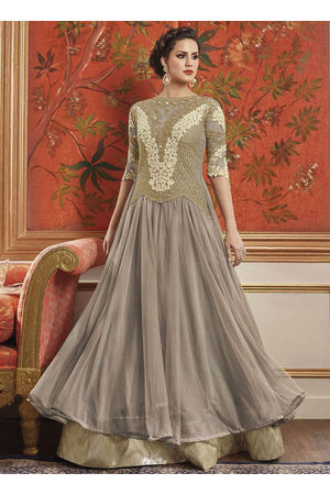 Ash Grey Net Layered Anarkali Suit
