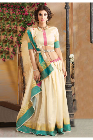 Woven Art Silk Saree in Beige _741