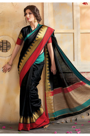 Woven Art Silk Saree in Black _760