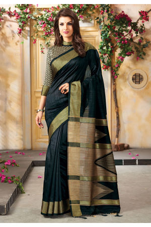 Woven Art Silk Saree in Black _764