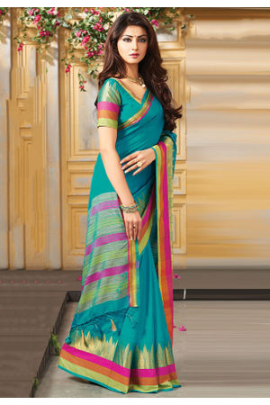 Woven Art Silk Saree in Blue _747