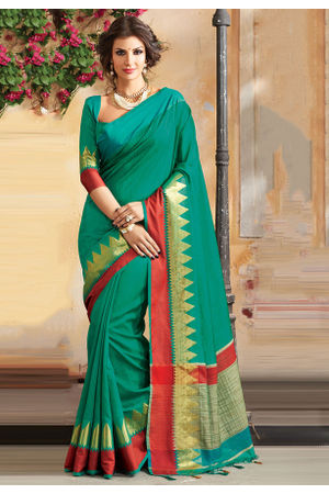 Woven Art Silk Saree in Green _758