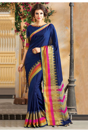 Woven Art Silk Saree in Ink Blue _748