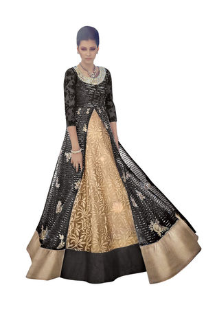 Long Beige Black Designer Anarkali 7347C