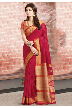 Woven Art Silk Saree in Maroon _765