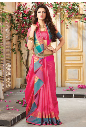 Woven Art Silk Saree in Pink _742