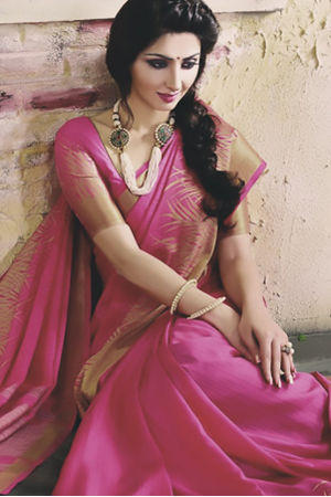 Woven Art Silk Saree in Pink _746