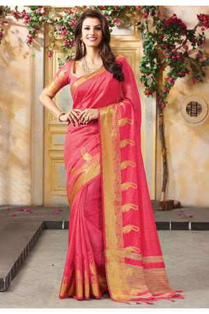 Woven Art Silk Saree in Pink _750