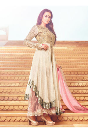 Beige N Off White Layered Anarkali Suit _MOH