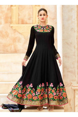 Black Georgette Long Style Anarkali Suit Slscc7223 U