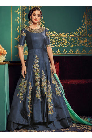 Blue Art Silk Long Style Anarkali Suit 800x
