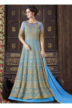 Blue Net Long Style Anarkali Suit 800x