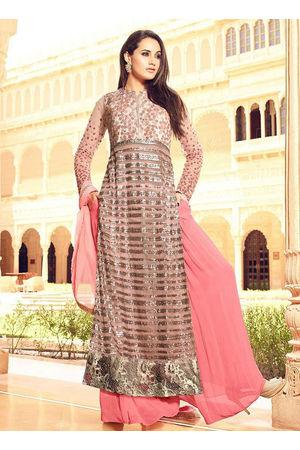 Blush Pink Art Silk N Net Palazzo Suit 800x