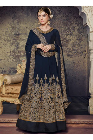 Black  Embroidered Georgette Anarkali Suit 800x