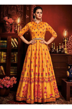 Orange Art Silk Long Style Anarkali Suit A 800x
