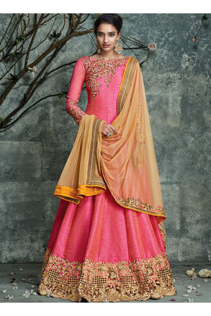 Pink And Light Yellow Pure Silk Party Wear Anarkali