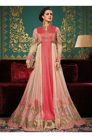 Pink N Cream Art Silk Long Style Anarkali Suit 2ax