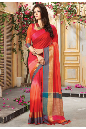 Woven Art Silk Saree in Red _743