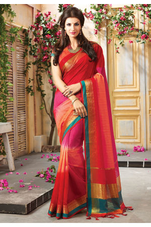 Woven Art Silk Saree in Red _745
