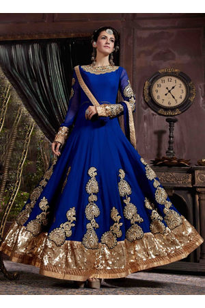 Royal Blue Gold Pure Georgette Embroidered Anarkali