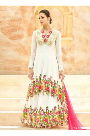 White Net Long Style Anarkali Suit Slscc7222 U