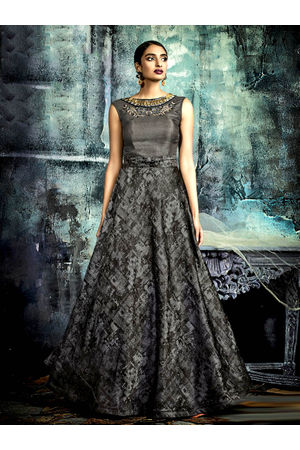Designer Ash Black  Long Party Gown