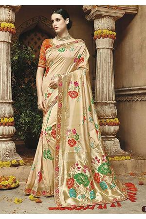 Beige Cream Kanjeevaram silk saree