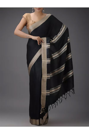 Dee's Alley  Black Color Pure Eri Silk Saree