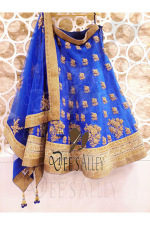 Ink Blue  with Green Raw Silk Designer Lehenga with Hand work Embroidery