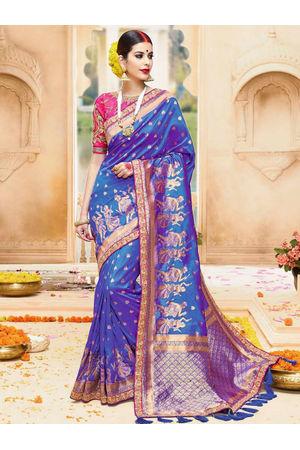 Blue Color Kanjivaram Wedding Saree