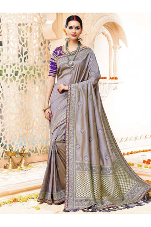 Grey Color Kanjivaram Wedding Saree