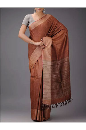 Dee's Alley Brown Eri-Tussar Silk Saree with Ghicha Pallu