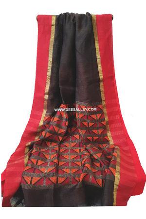 Linen Silk Saree with  Jamdani work  in Charcoal Black