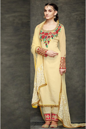 Cream Color Georgette Partywear Straight Suit
