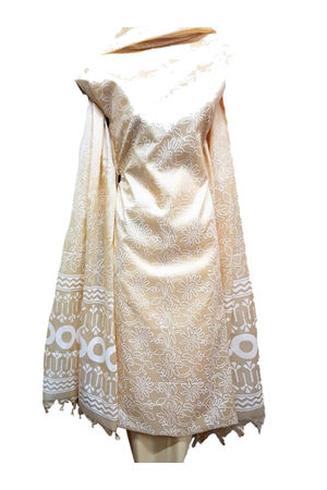 Tussar Silk Suit in Rich Cream Shade with White