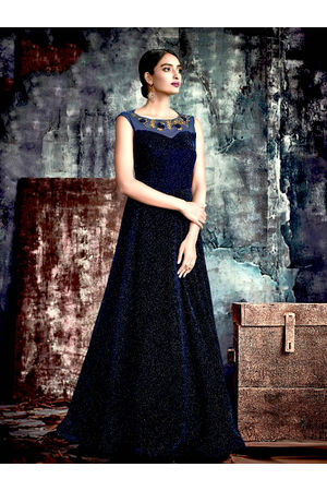 Designer Blue Black Long Party Gown