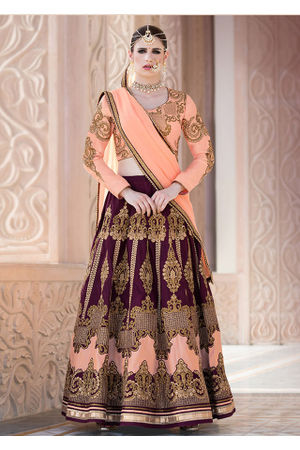 Dee's Alley Wine and Peach Art Silk Lehenga Choli