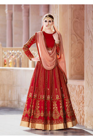 Dee's Alley Red Bridal  Art Silk Lehenga Choli