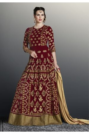 Georgette Maroon Floor Length Anarkali Suit