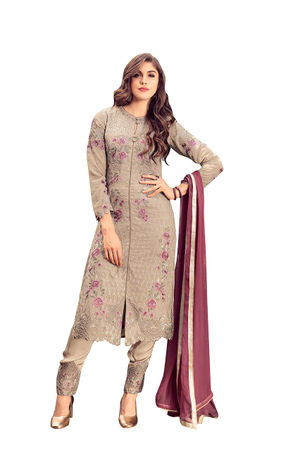 Pinkish Brown Georgette Party Wear Salwar Kameez