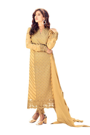 Georgette Party Wear Salwar Kameez in Yellow