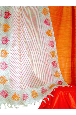 Dee's Alley Tussar Ghicha Silk Suit in Tangy Orange _SP 197 O