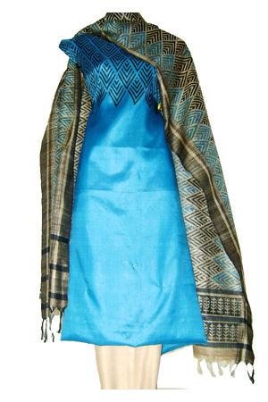Printed Tussar Silk Suit Material Blue13